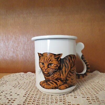 Cat Kitten Tabby Tail Handle Coffee Tea Cup with Paw Print Lid Japan JOBAR