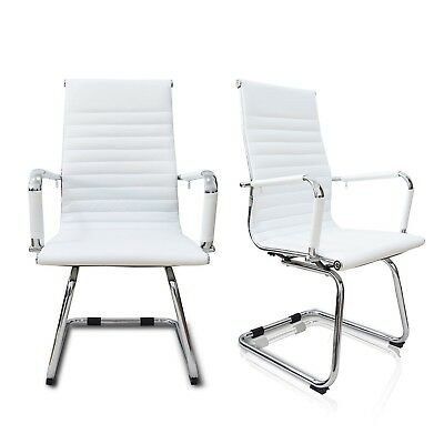 Set of 2 High Back Guest Office Chair Sled Base Computer PU Leather Desk Seat