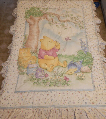 Disney Winnie The Pooh Classic Crib Comforter Quilt Baby Blanket Honey Butterfly
