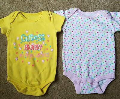 Infant Girls  Set of Two One-Pieces Size 0-3 months heart flowers Cutest Baby