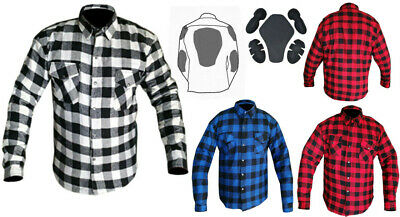 Motorcycle Cotton Flannel Lumberjack DuPont™ KEVLAR® Shirt with CE armour