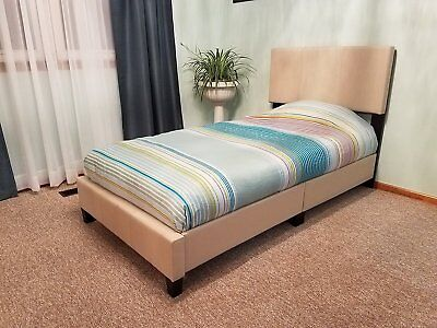 Modern Platform Full Size Leather Bed Frame Slats Headboard Wled