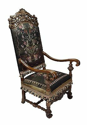 Antique Heavily Pierced Carved Throne Arm Chair with Needlepoint Upholstery