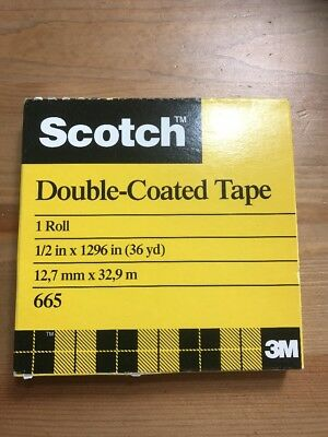 "3M Scotch Double-Coated Tape 665 Double-Sided Roll 1"" Core Photo Safe FREE SHIP"