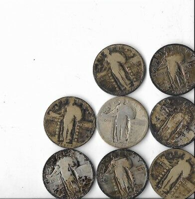 Lot Of 8 Standing Liberty Quarters Various Dates