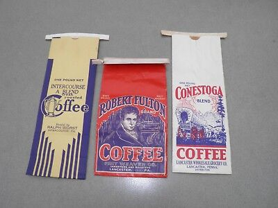 Lot Of 3 Vintage 1940's Coffee Bags From Lancaster And Intercourse P.A.