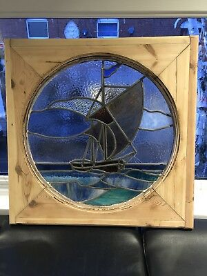 Old Dutch Reclaimed Wooden Framed Stained Glass Ship,