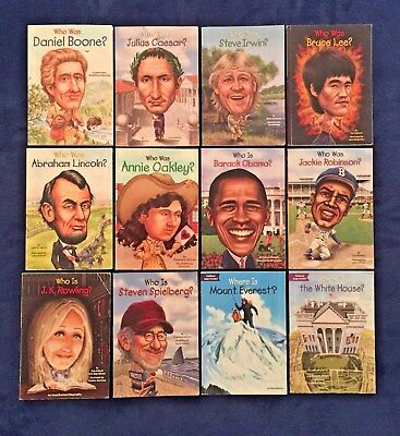 Lot of 12 Children's Books Educational: Who Was Who Is What Was Series - PBs