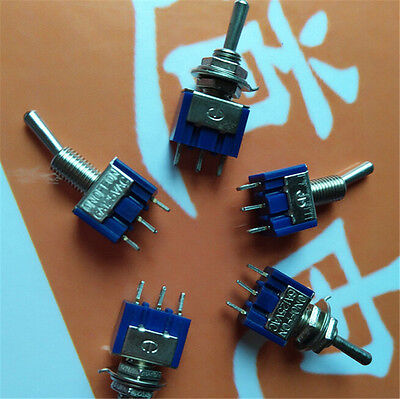 5Pcs ON-OFF-ON 3Pin 3Position Mini Latching Toggle Switch AC 125V/6A MW
