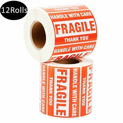 12 Rolls 500/Roll 2x3 Fragile Stickers Handle with Care Thank You Shipping Label