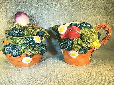 Fitz and Floyd Beautiful Hand Painted Sugar & Creamer 1998 Lovely Set