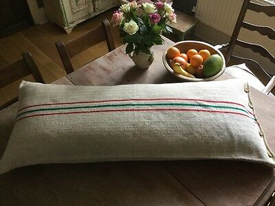 "Beautiful Vintage Grain Sack Large Bolster Cushion 47"" x 19"" Bench Seat Bed huge"