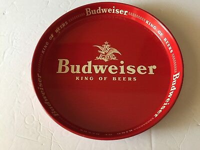 """Vintage Budweiser King Of Beers Beer Tin Tray Advertising 12"""" Red White"""