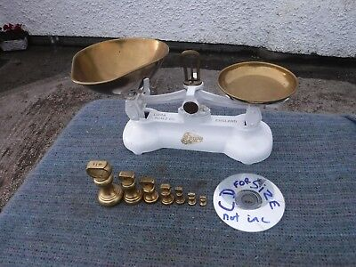 Vintage Style  Librasco Kitchen Scales & 7 Brass Bell Weights.  Free Delivery.