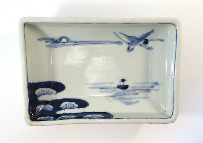 Antique Japanese Arita Imari Blue White Porcelain Dish Pine Crane Boat Japan EL