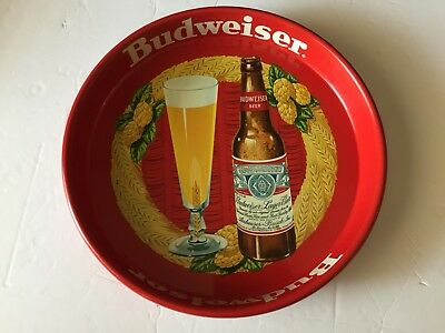 """Vintage 1950's-60's Budweiser Beer Tin Tray 13"""" CANCO Advertising Red"""