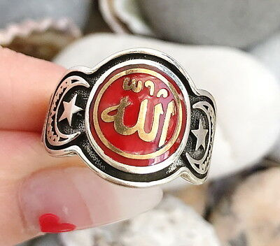 Handmade Red Allah God islamic Arabic Calligraphy 925 Silver Star Men Woman Ring