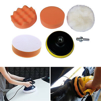 New 5X High Polishing Buffer Pad Set Kit 1X Drill Adapter For Car Polish Tool GU