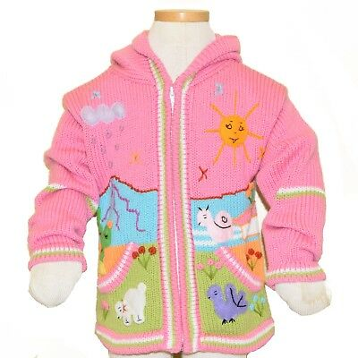 Child's Arpillera Handmade Peruvian Sweater From Peru Pink 6T