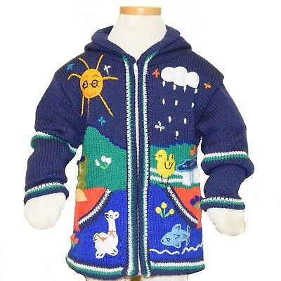Child's Arpillera Handmade Peruvian Sweater From Peru Navy Blue  6T