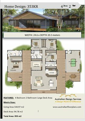 Acreage Kit home House Plan  4 or 5 Bedrooms Home Plan Acreage 353m2 or 3800 sq
