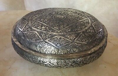 19th CENTURY FOOTED BOWL w/ LID HAND HAMMERED ELABORATE HAND  WORK
