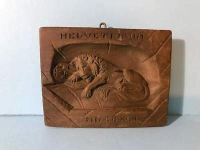 ANTQ c1900 LION OF LUCERNE LUZERN WOOD PLAQUE PANEL + HISTORY SCROLL GRAND TOUR!