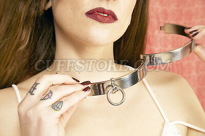 "12.5"" XS Adult BDSM Bondage Choker Locking Restraint Steel Ring Neck Collar"