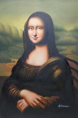 """Oil Painting on Stretched Canvas: """"Mona Lisa"""" Realistic Portrait 24x36"""""""