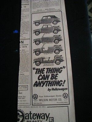 1974 volkswagen thing newspaper ad local dealer ad vw paper clipping