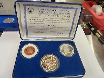 National Collectors Mint 1776/1794 Tribute Proof Set 1Oz Silver