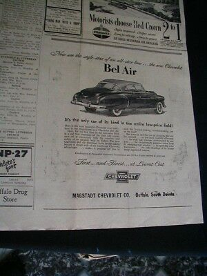 vintage 1950 chevrolet belair newspaper ad