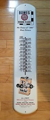 1960s Bowes Seal Fast Brake Fluid Metal Advertising Thermometer AJ Foyt Indy 500