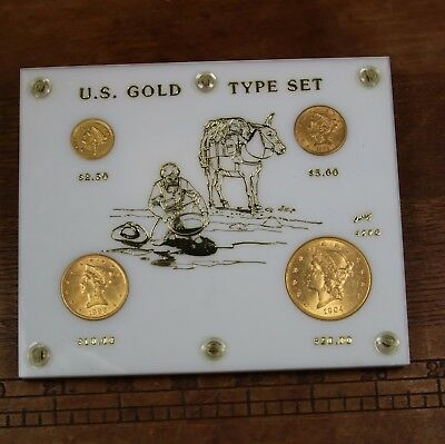 U.S Gold Type Set 1855 $2.50 1881 $5 1899 $10 1904-S $20 4 Coin Capital Holder