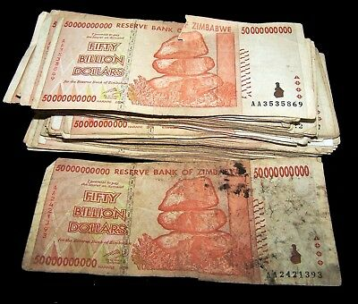 30 x Zimbabwe 50 Billion Dollar banknotes-2008/AA&AB/DAMAGED/VERY POOR CONDITION