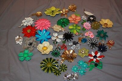 Lot Of 41 Colorful Vintage Metal Enamel Flower Bouquet Brooch Pin Earrings PINS