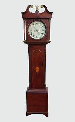 18th CENTURY CHIPPENDALE MAHOGANY CONCH SHELL INLAID TALL CASE CLOCK