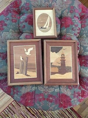 Lot Vintage Estate Wooden Inlay Pictures Bird Flying Pictures