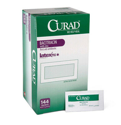 Medline CUR001109 Curad Bacitracin with Zinc Ointment, 0.9 g Packets, 0.03 oz