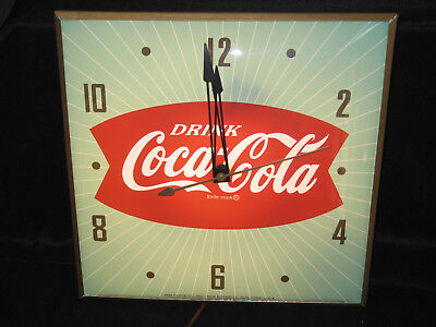 Coca Cola Square Green Fish Tail Pam Wall Clock. Fantastic Condition!