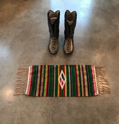 Vtg Mexican Saltillo Blanket Rug Boho Serape Hot Rod Camp Motorcycle 24x12 Linen