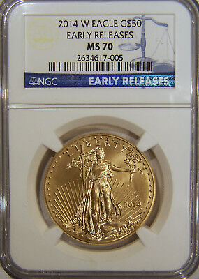 2014 W $50 burnished gold eagle NGC MS70 Early Releases, low mintage
