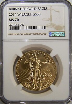 2014 W $50 burnished gold eagle NGC MS 70, low mintage