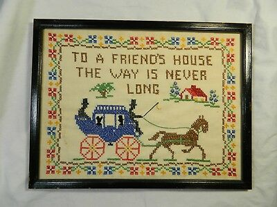 "Antique Linen Cross Stitch Sampler - ""To a Friend's House the Way Is Never Long"""
