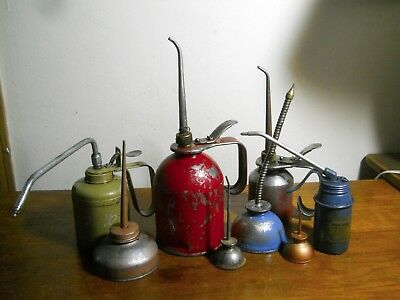 8 Vintage Squirt Oil Cans Some Marked Eagle & Pressol Pump Oiler U.s.a.