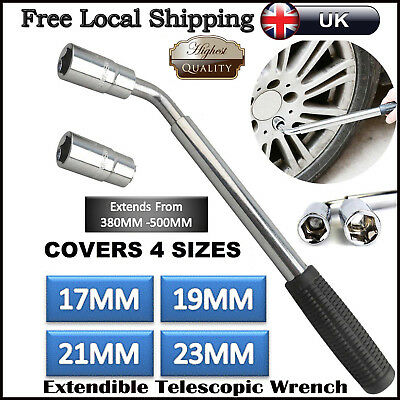 Car Van 17 19 21 &23mm Extendable Wheel Brace Socket Tyre Remover Lug Nut Wrench