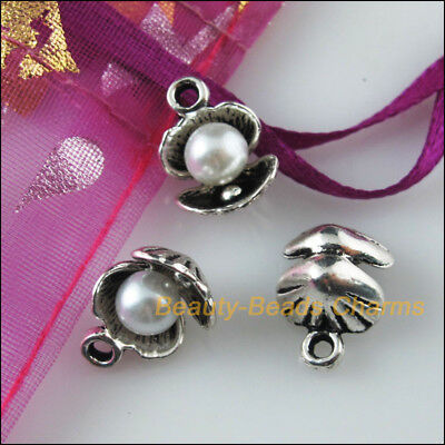 6Pcs White Tibetan Silver Tone Acrylic Shell Charms Pendants 10.5x14mm