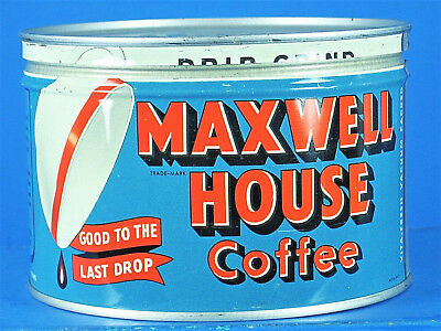 Vintage MAXWELL HOUSE COFFEE 1 Pound Can Tin