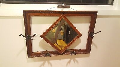 Antique Wood Rectangle Framed Hallway Mirror Egg and Dart Coat Rack Early 1900s