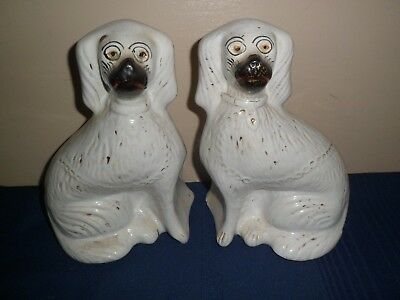 Pair of Antique Victorian Era Staffordshire Wally Dogs, King Charles Spaniels
